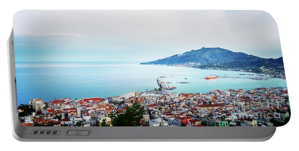 Zakynthos Portable Battery Charger featuring the photograph Zaante Town Harbor by Anastasy Yarmolovich