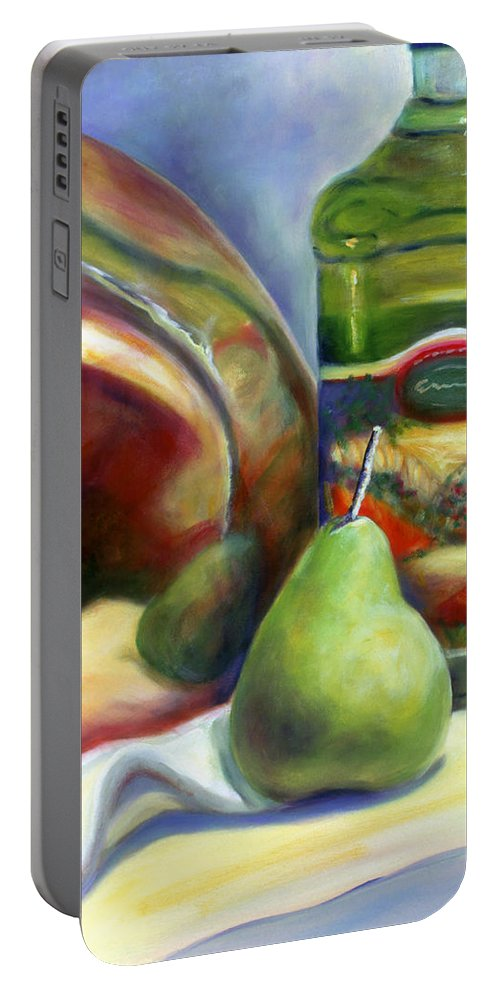 Copper Vessel Portable Battery Charger featuring the painting Zabaglione Pan by Shannon Grissom