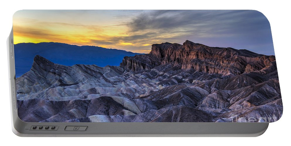 Adventure Portable Battery Charger featuring the photograph Zabriskie Point Sunset by Charles Dobbs