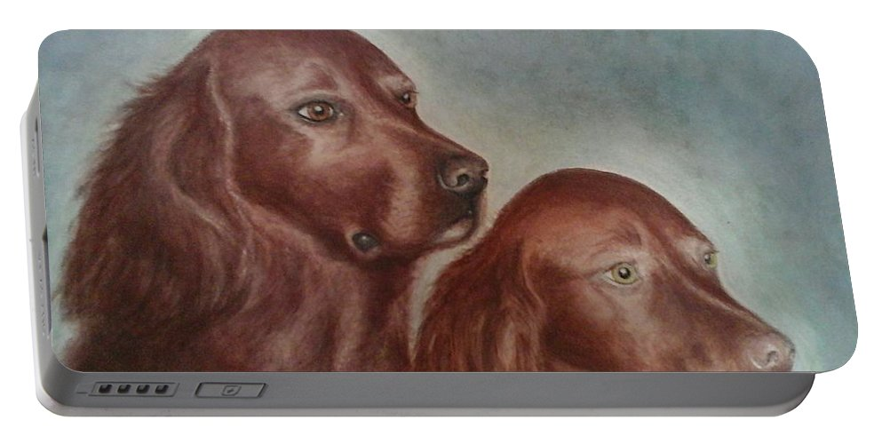 Irish Setters Portable Battery Charger featuring the painting Zack And Katie 2 by Judith Monette