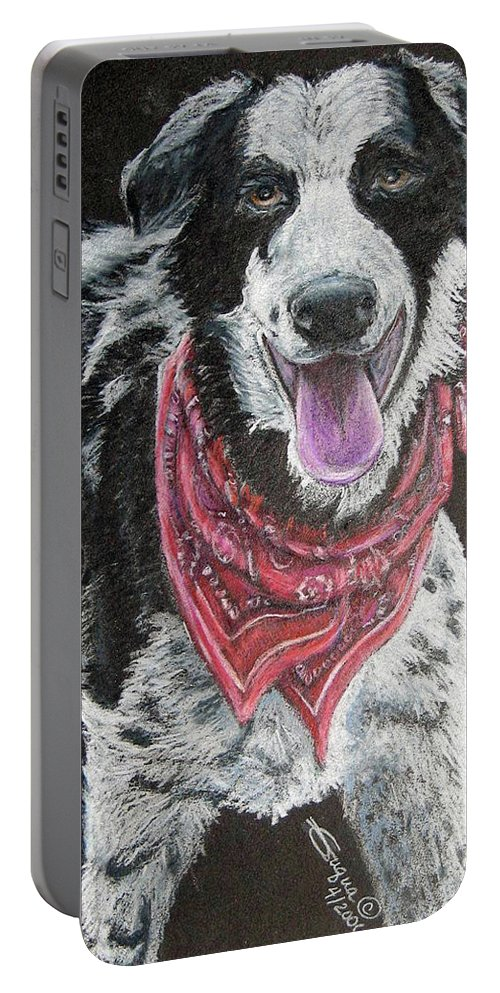 Fuqua - Artwork Portable Battery Charger featuring the drawing Zack by Beverly Fuqua