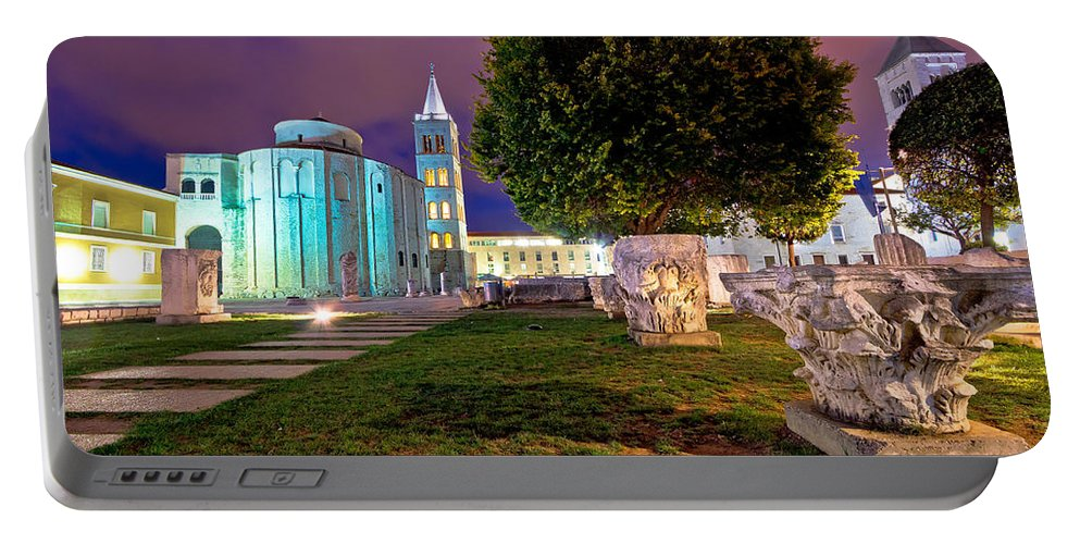 Zadar Portable Battery Charger featuring the photograph Zadar Historic Square Evening View by Brch Photography