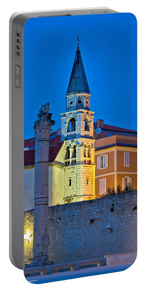 Zadar Portable Battery Charger featuring the photograph Zadar Landmarks Evening Vertical View by Brch Photography