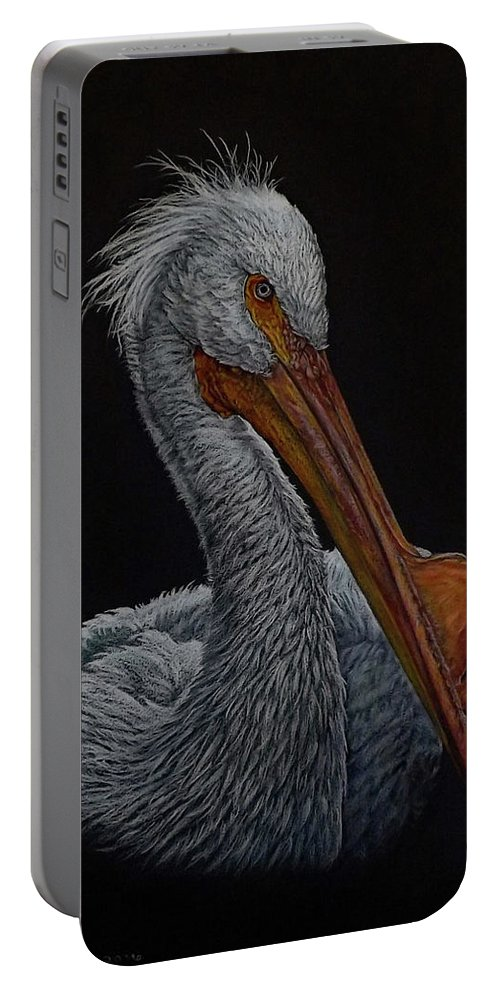 Bird Portable Battery Charger featuring the painting Zamboni by Linda Becker