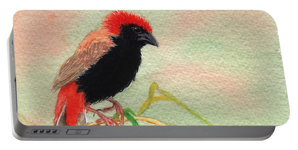 Bird Portable Battery Charger featuring the painting Zanzibar Red Bishop by Lynn Quinn