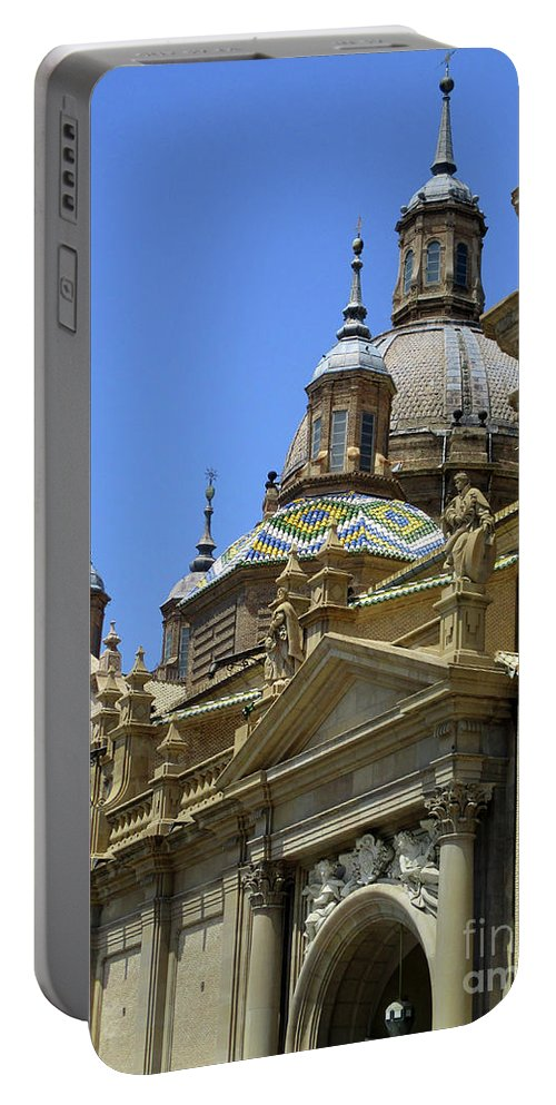 Cathedral Portable Battery Charger featuring the photograph Zaragoza Cathedral 13 by Randall Weidner