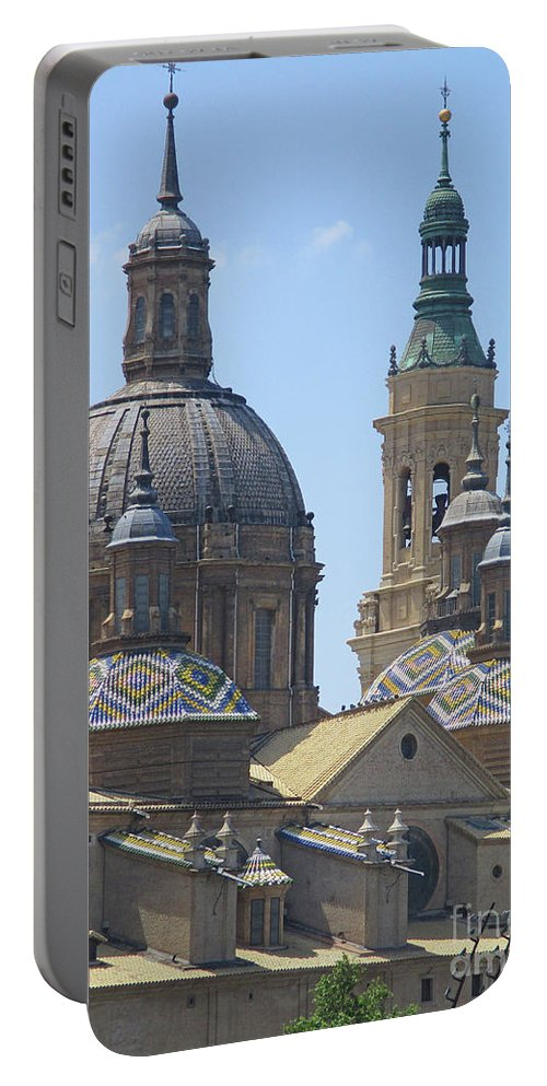 Cathedral Portable Battery Charger featuring the photograph Zaragoza Cathedral 4 by Randall Weidner