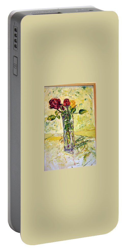 Landscape Portable Battery Charger featuring the painting Zatisi S Ruzi 2 by Pablo de Choros