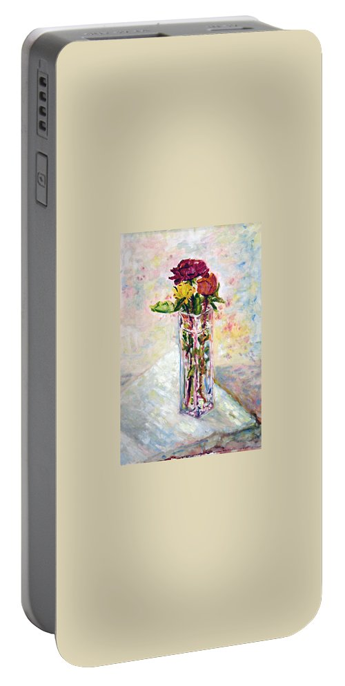 Landscape Portable Battery Charger featuring the painting Zatisi S Ruzi by Pablo de Choros