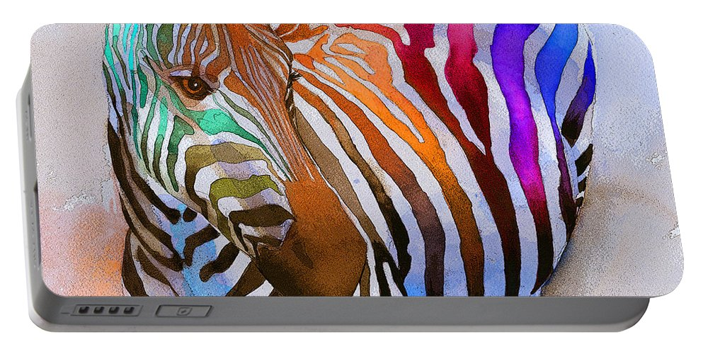 Colorful Portable Battery Charger featuring the painting Zebra Dreams by Galen Hazelhofer