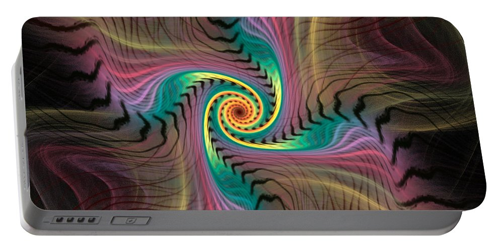Spiral Portable Battery Charger featuring the digital art Zebra Spiral Affect by Deborah Benoit