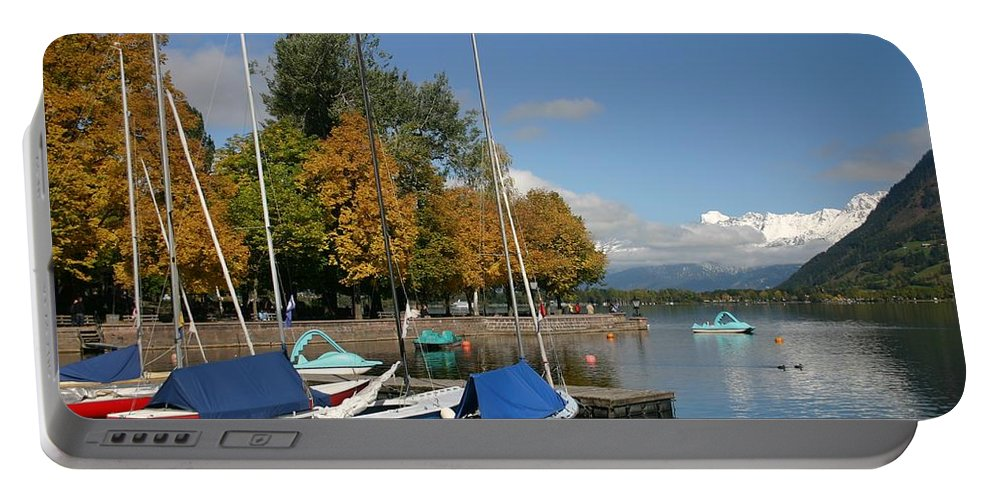 Sail Boats Portable Battery Charger featuring the photograph Zell Am See The Elements In Austria by Minaz Jantz