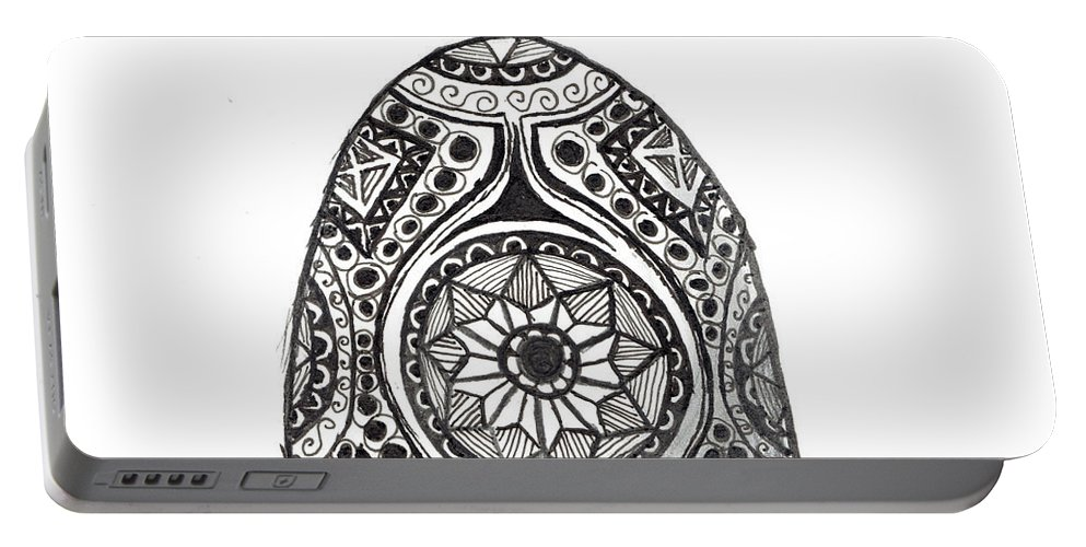 Zentangle Portable Battery Charger featuring the drawing Zen Egg by Kitty Perkins