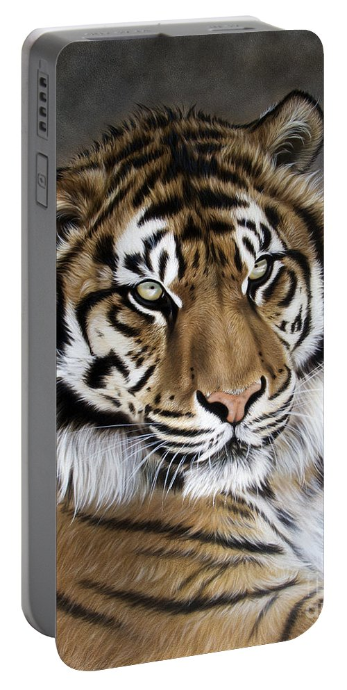 Tiger Portable Battery Charger featuring the painting ZEN by Sandi Baker