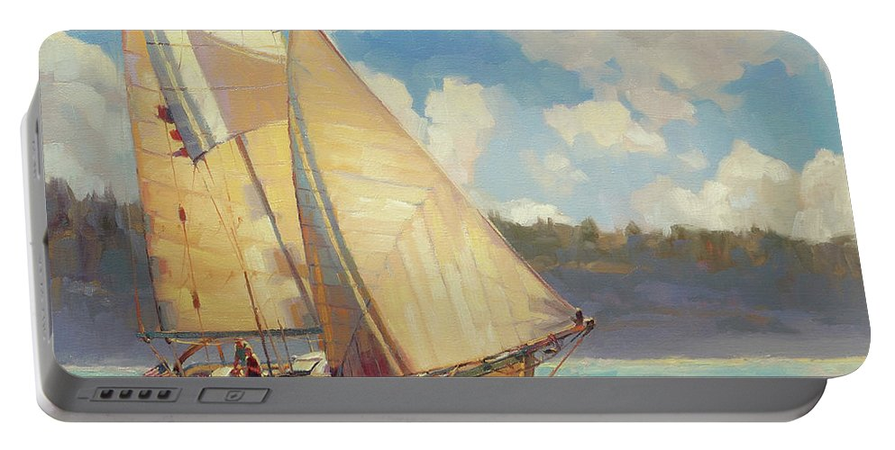 Sailboat Portable Battery Charger featuring the painting Zephyr by Steve Henderson