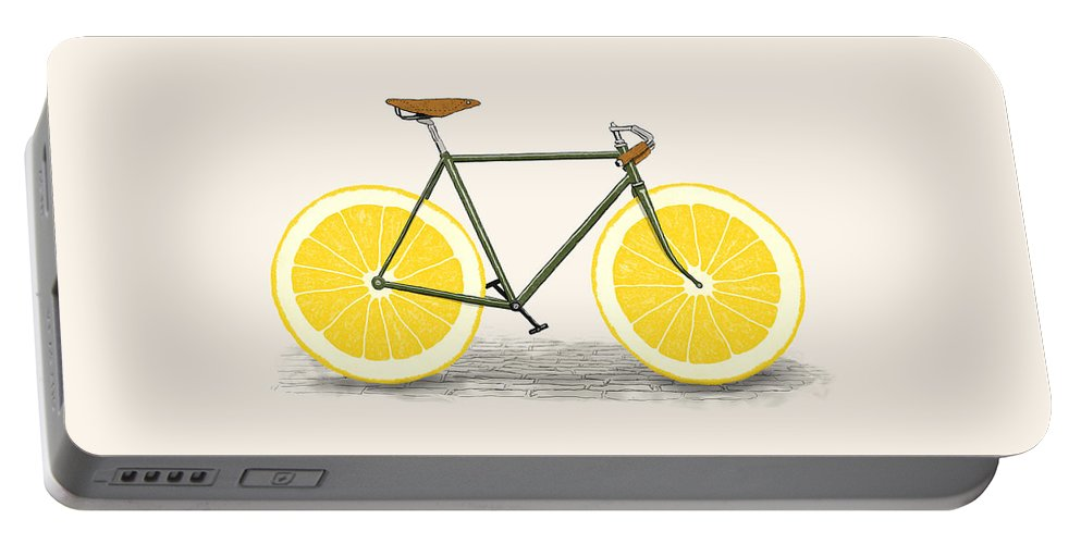 Bike Portable Battery Charger featuring the drawing Zest by Florent Bodart