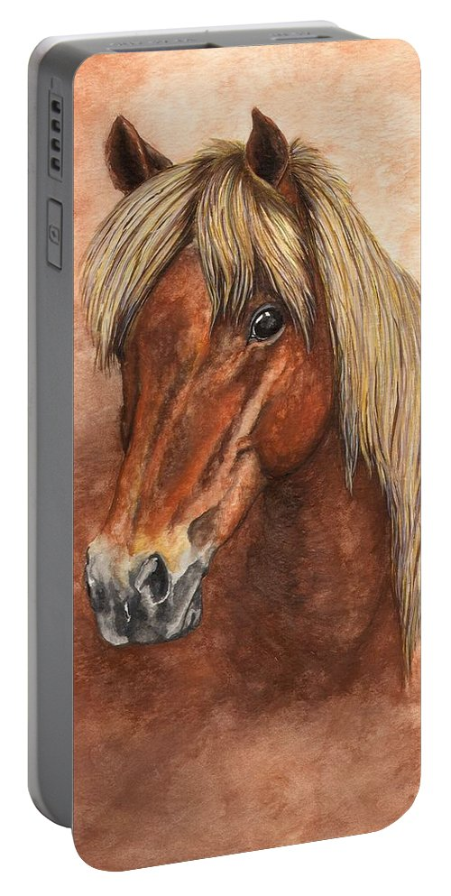 Pony Portable Battery Charger featuring the painting Ziggy by Kristen Wesch