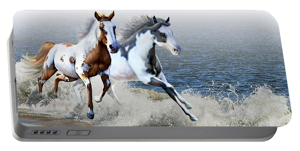 Paint Horses Portable Battery Charger featuring the digital art Ziggy's And Annie's Beach Run by Barbara Hymer