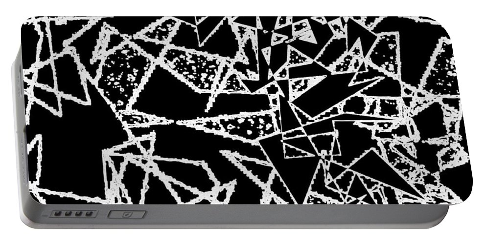 Abstract Portable Battery Charger featuring the digital art Zigzag by Will Borden