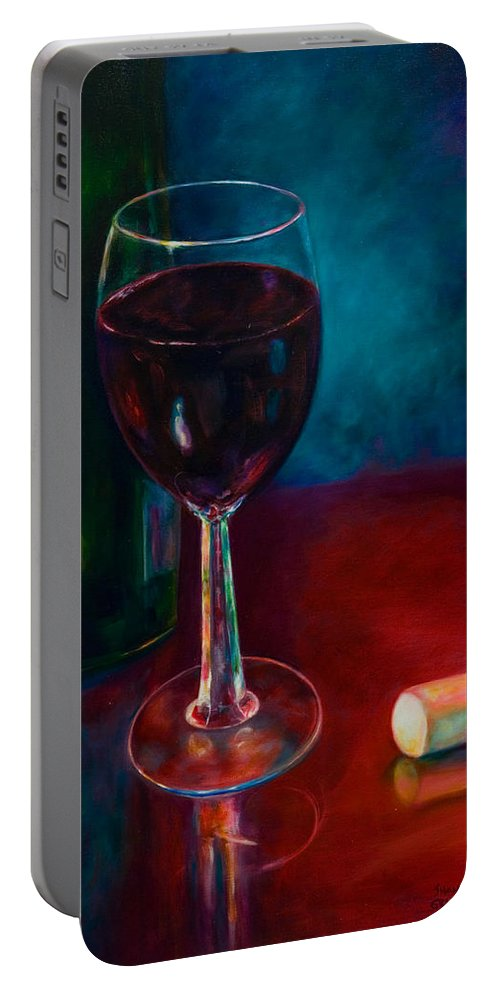 Wine Bottle Portable Battery Charger featuring the painting Zinfandel by Shannon Grissom