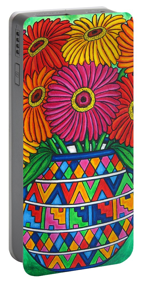 Zinnia Portable Battery Charger featuring the painting Zinnia Fiesta by Lisa Lorenz