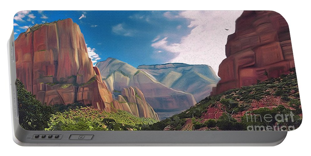 Zion National Park Portable Battery Charger featuring the digital art Zion Cliffs by Walter Colvin