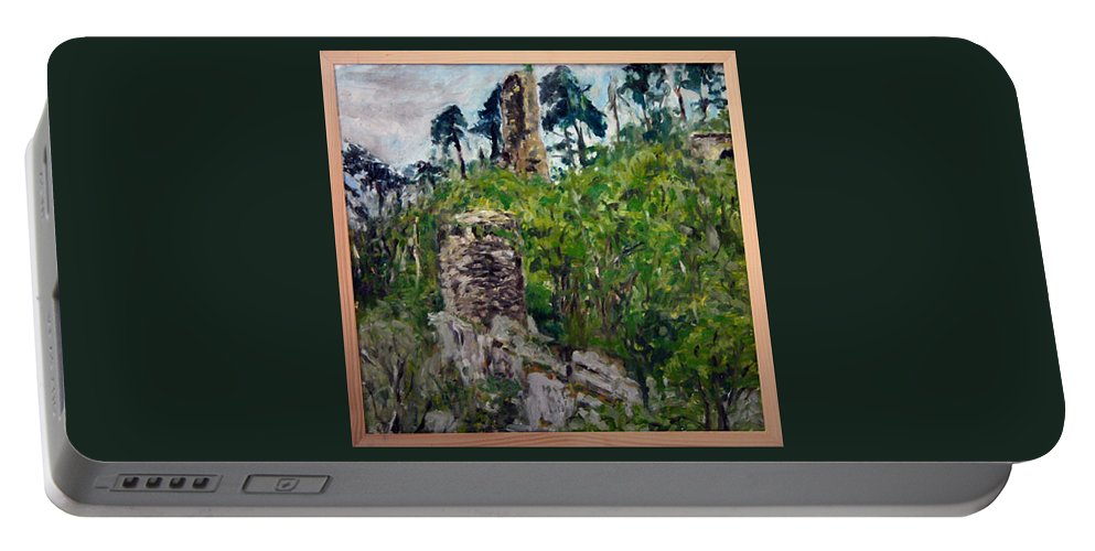 Landscape Portable Battery Charger featuring the painting Zlomeny Kostelec by Pablo de Choros