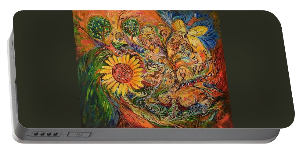 Original Portable Battery Charger featuring the painting Zodiac by Elena Kotliarker
