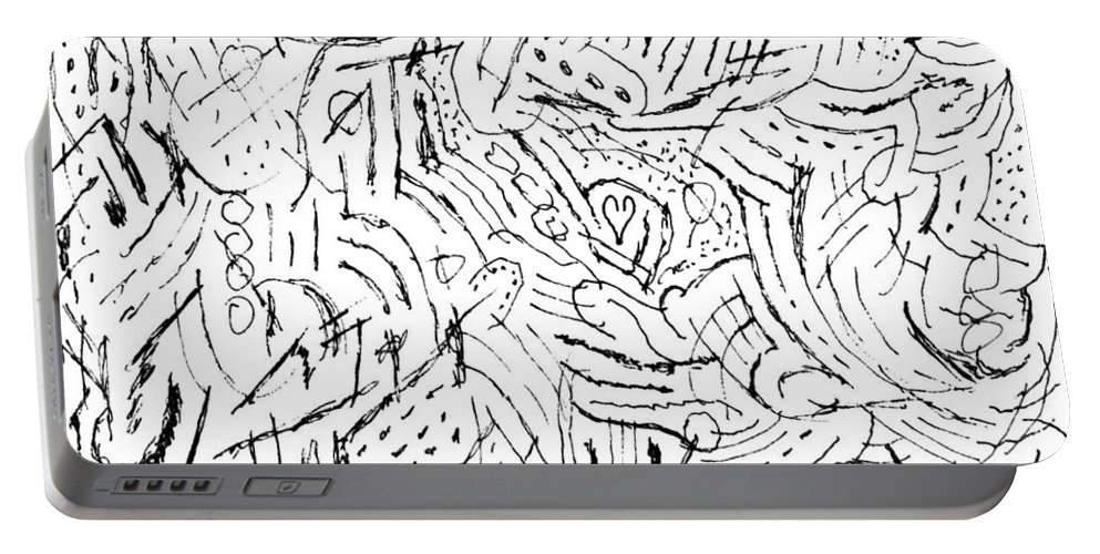 Mazes Portable Battery Charger featuring the drawing Zodiac by Steven Natanson
