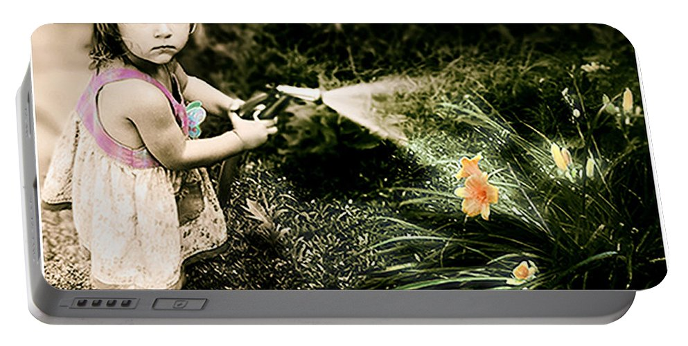 Children Portable Battery Charger featuring the photograph Zoe Waters The Flowers by Karen W Meyer