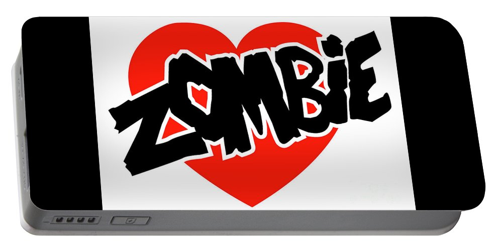 Portable Battery Charger featuring the digital art Zombie Love by Edmund Cichocki