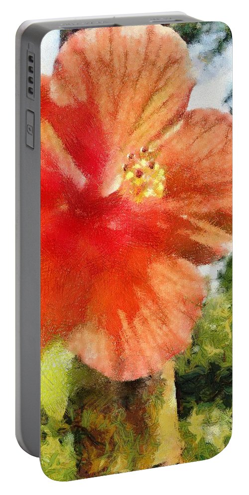 Zoo Portable Battery Charger featuring the painting Zoo Flower by Jeffrey Kolker