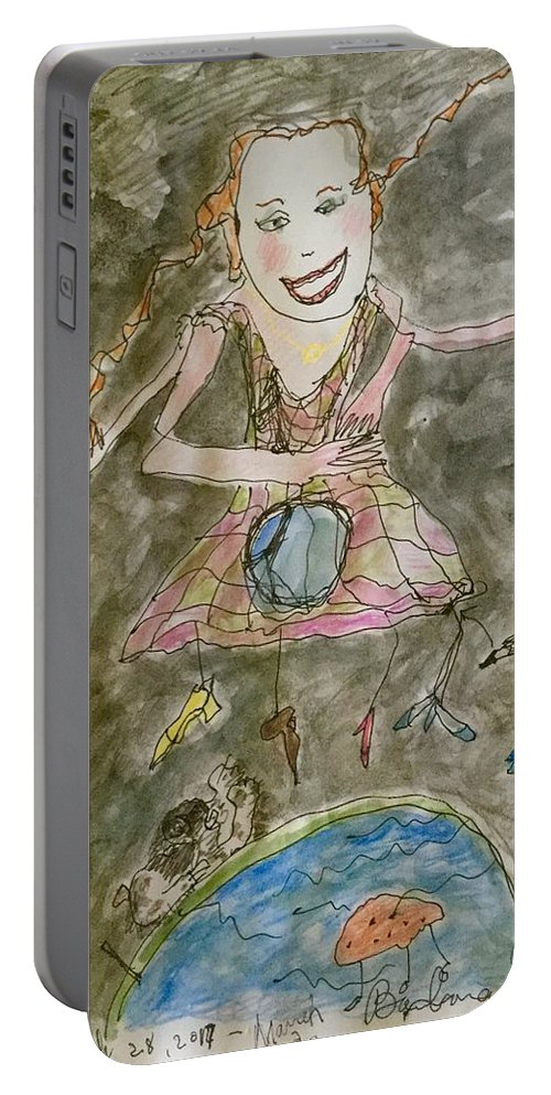 Portraits Portable Battery Charger featuring the mixed media Happy by Barb Greene mann