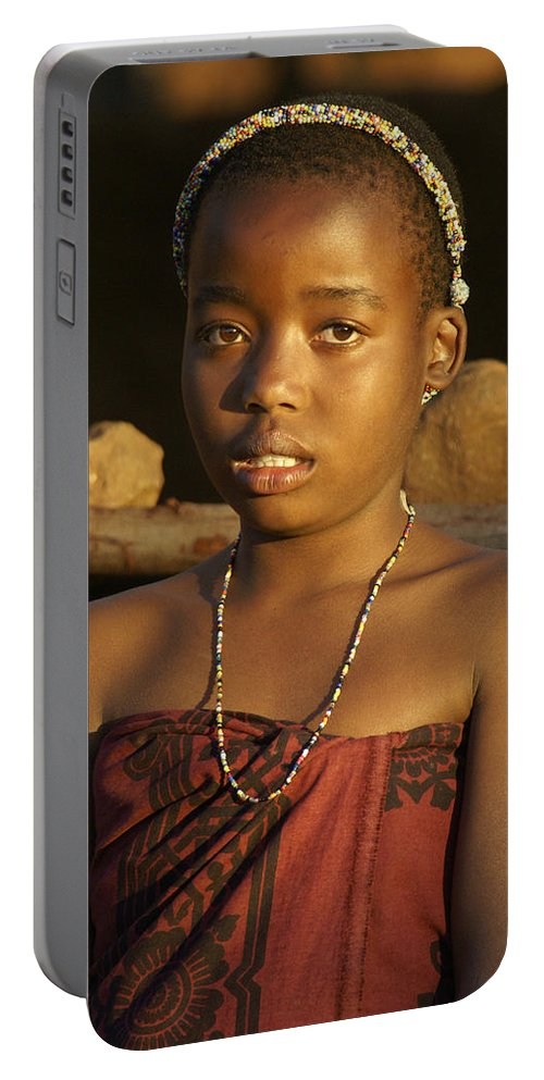 Africa Portable Battery Charger featuring the photograph Zulu Princess by Michele Burgess