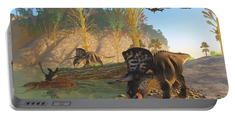 Zuniceratops Portable Battery Charger featuring the painting Zuniceratops River by Corey Ford