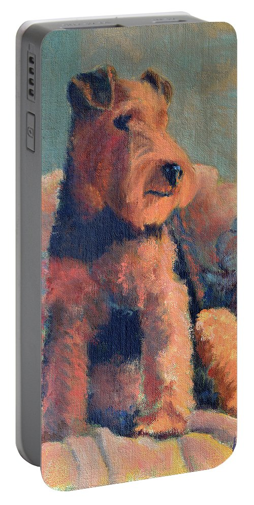 Pet Portable Battery Charger featuring the painting Zuzu by Keith Burgess