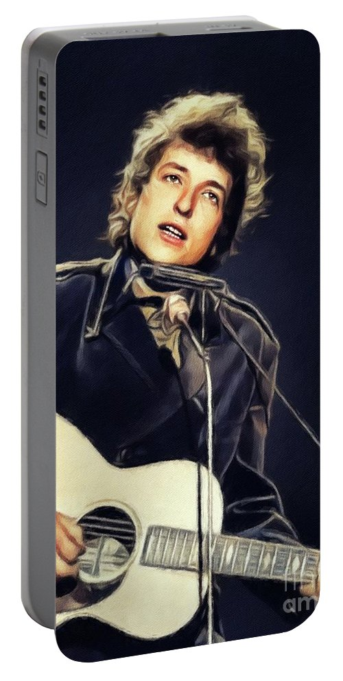 Bob Portable Battery Charger featuring the painting Bob Dylan, Music Legend by Esoterica Art Agency