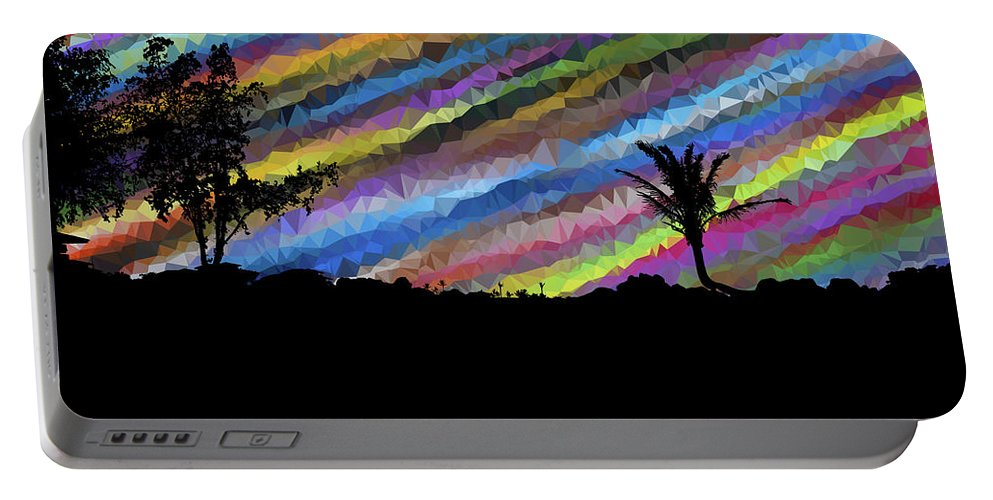 Colorful Portable Battery Charger featuring the digital art Colorful Forest by ArtMarketJapan