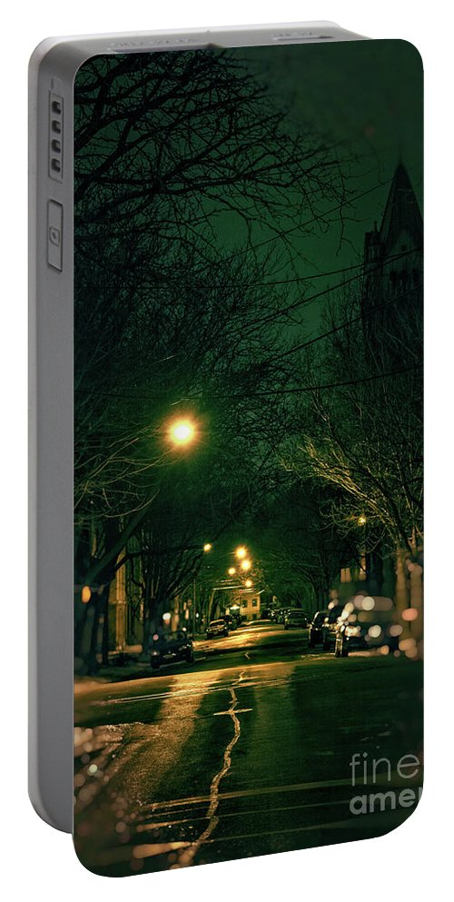 Chicago Portable Battery Charger featuring the photograph Dark Chicago City Street At Night by Bruno Passigatti