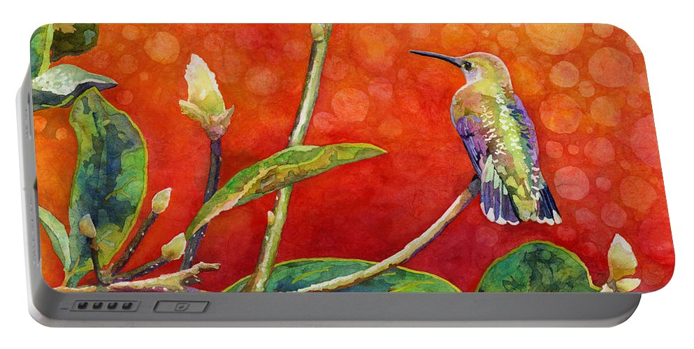 Hummingbird Portable Battery Charger featuring the painting Dreamy Hummer by Hailey E Herrera