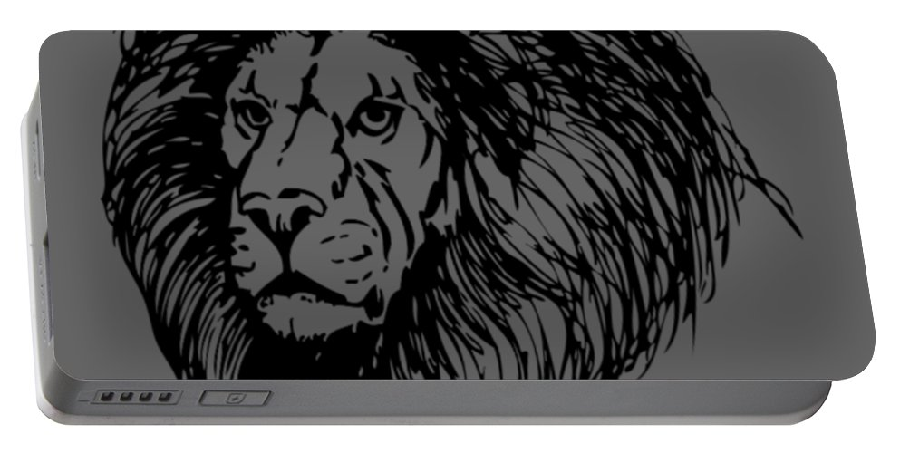 Lion Portable Battery Charger featuring the digital art Male Lion by Dawn OConnor