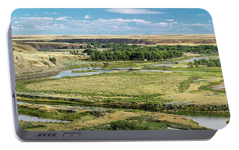 Panorama Portable Battery Charger featuring the photograph Marias River Valley by Todd Klassy