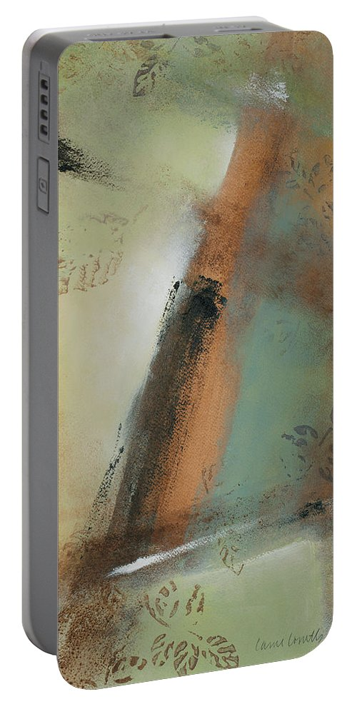 Abstract Portable Battery Charger featuring the painting Misty Morning II by Lanie Loreth