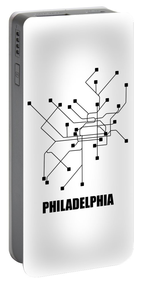 Philadelphia Portable Battery Charger featuring the digital art Philadelphia White Subway Map by Naxart Studio