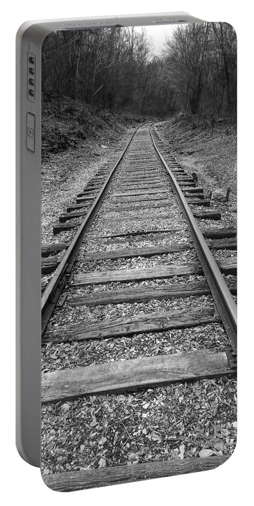 Rails Portable Battery Charger featuring the digital art Railroad Tracks by Phil Perkins