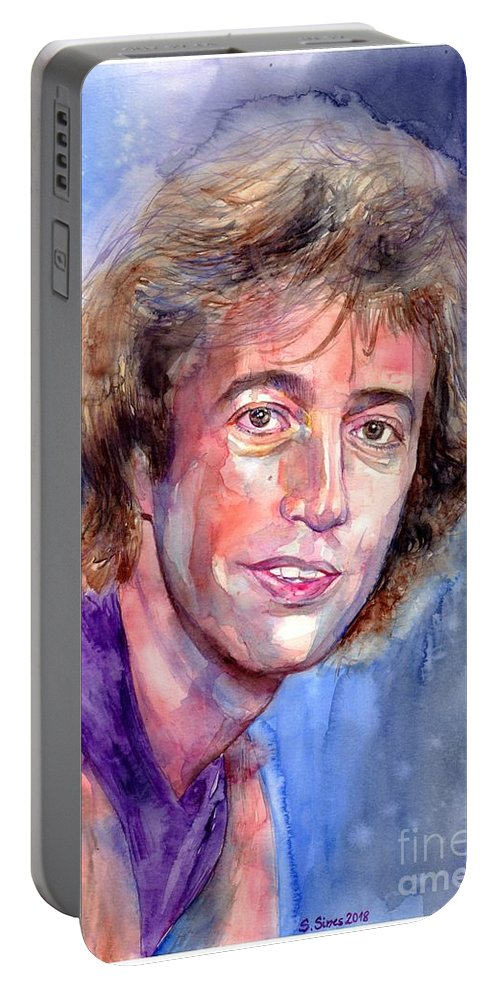 Robin Portable Battery Charger featuring the painting Robin Gibb Portrait by Suzann Sines