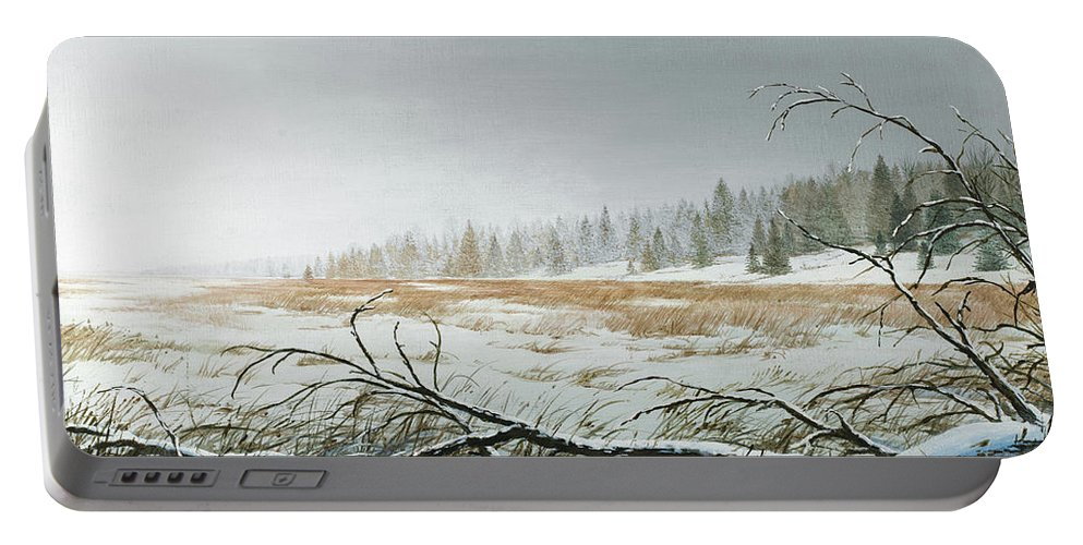 Snowy Portable Battery Charger featuring the painting Snowy Morning by Bruce Nawrocke