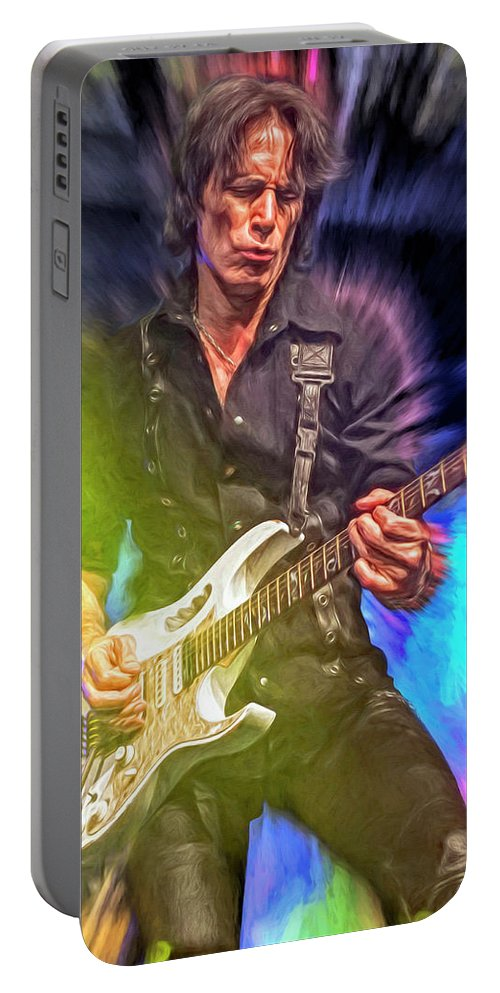 Steve Vai Portable Battery Charger featuring the mixed media Steve Vai by Mal Bray