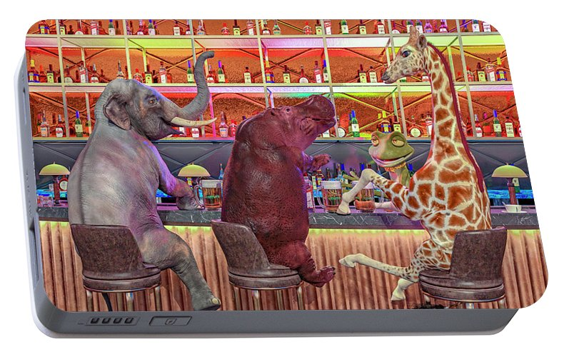 Bar Portable Battery Charger featuring the digital art The Locals by Betsy Knapp