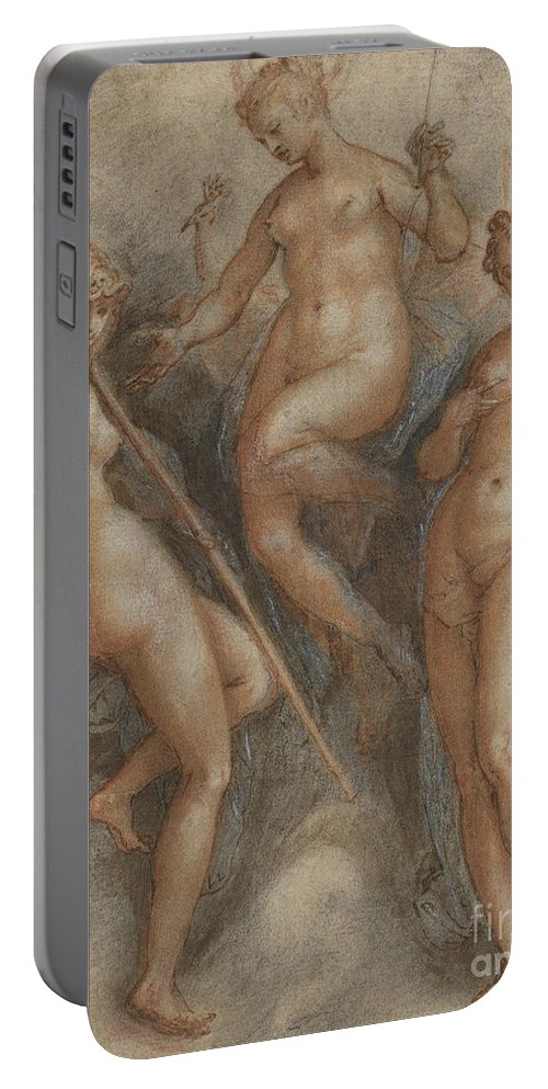 Mythology Portable Battery Charger featuring the drawing Three Goddesses Minerva, Juno And Venus by Jan van der Straet